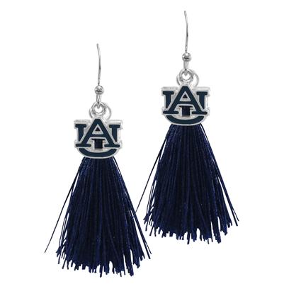 College Fashion Auburn University Logo Charm Tassel Post Dangle Eambi Earrings
