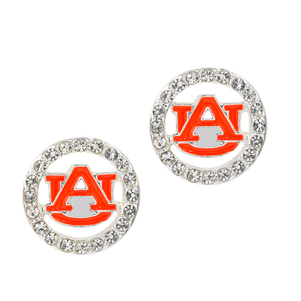 College Fashion Crystal Auburn University Logo Charm Stud Eugenia Earrings