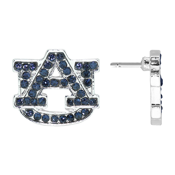 College Fashion Cubic Zirconia Crystal Auburn University Logo Charm Stud Evermore Earrings