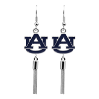 College Fashion Auburn University Logo Charm Tassel Post Dangle Evanna Earrings