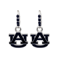 College Fashion Crystal Auburn University Logo Charm Cuff Hoop Dangle Electra Earrings
