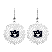 College Fashion Filigree Cut Auburn University Logo Charm Post Dangle Els Earrings