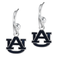 Dangle Logo Earrings Silver College University AU Auburn AL Jewelry