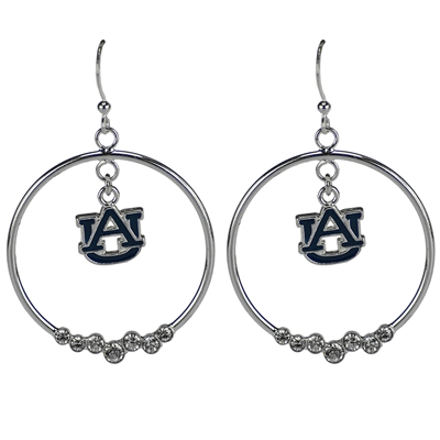 Rhinestone Hoop Silver Earrings AU Roll Tides Sports College