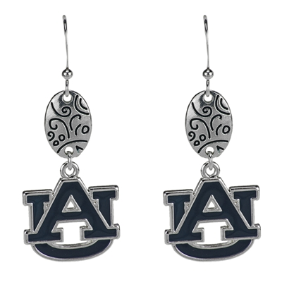Silver Designer Custom Earrings Jewelry College Auburn Tigers