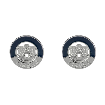 Two-Tone Circular Logo Studs Silver Earrings Auburn Aubie the Tiger College Jewelry