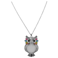Chic & Colorful Crystal Owl Magnifying Glass Necklace