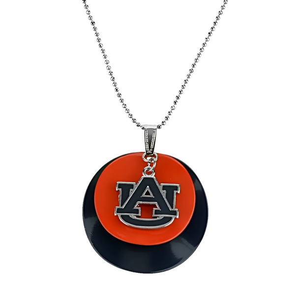 Auburn Tigers Team Colored Disc Logo Silver Necklace