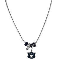 College Fashion Crystal Auburn University Logo Charms Natalya Necklace