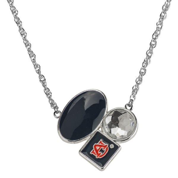 Auburn Team Colored Stone Crystal Team Logo Charm Silver Necklace