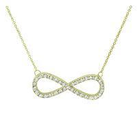 Endless Love Fashionable Clear Crystal Infinity Charm Gold Necklace