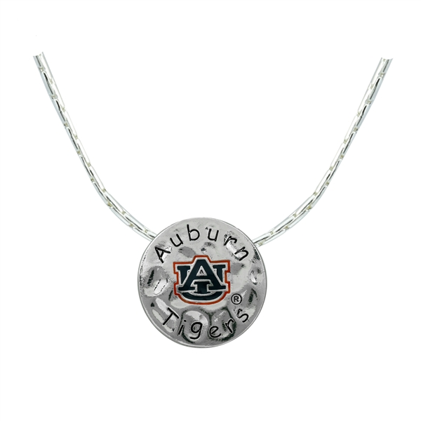 Auburn Team Colored Logo & Black Text Hammered Round Silver Necklace