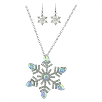 THE SPARKLING CRYSTAL SNOWFLAKE NECKLACE SET | IRIDESCENT