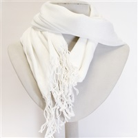 White Viscose Scarf