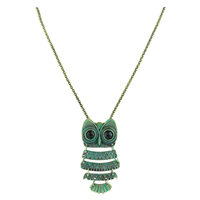 Green Plated Crystal Vintage Quad-Wing Owl Necklace