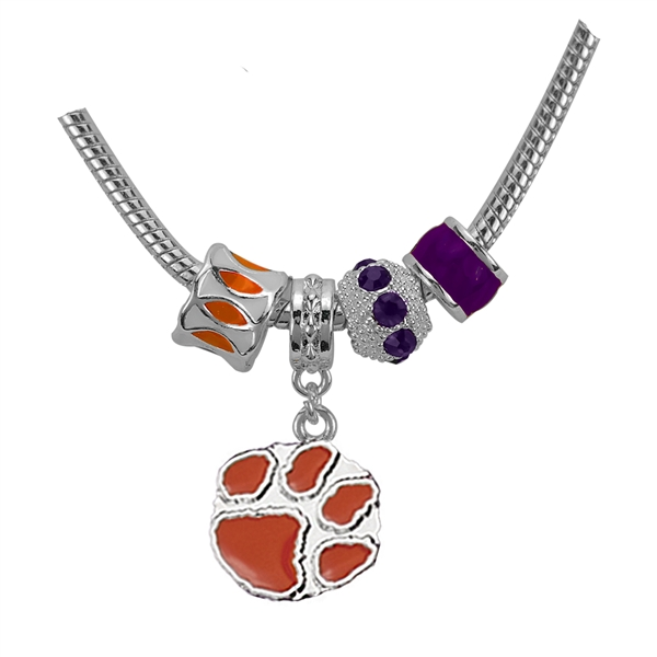 Clemson Logo Team Colored Charms Silver Bracelet