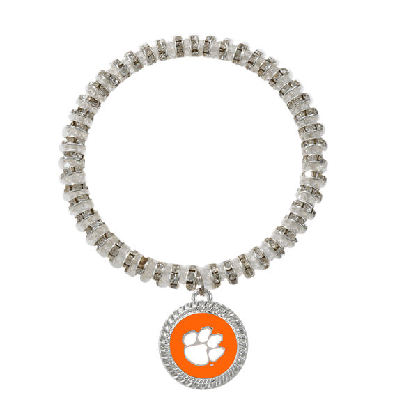 College Fashion Crystal Clemson University Logo Charm Bicks Bracelet