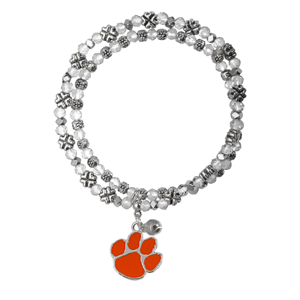 College Fashion Crystal Clemson University Logo Charm Double Layered Stretch Bryton Bracelet