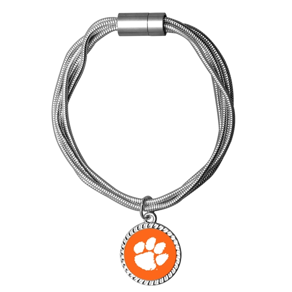 College Fashion Clemson University Logo Charm Multi-Layered Snake Chain Pop Clasp Burma Bracelet