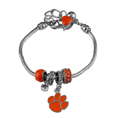 College Fashion Crystal Clemson University Logo Charms Betsy Bracelet
