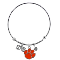 Coil Love Silver Charm Bracelet Clemson Tiger Bangle Silver Jewelry