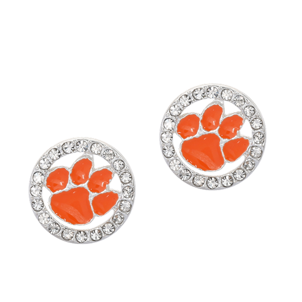College Fashion Crystal Clemson University Logo Charm Stud Eugenia Earrings