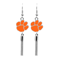 College Fashion Clemson University Logo Charm Tassel Post Dangle Evanna Earrings