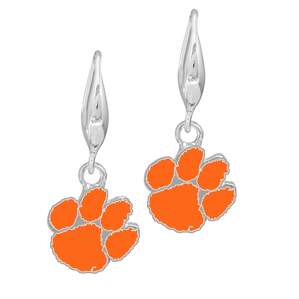 College Fashion Clemson University Logo Charm Stud Dangle Elma Earrings