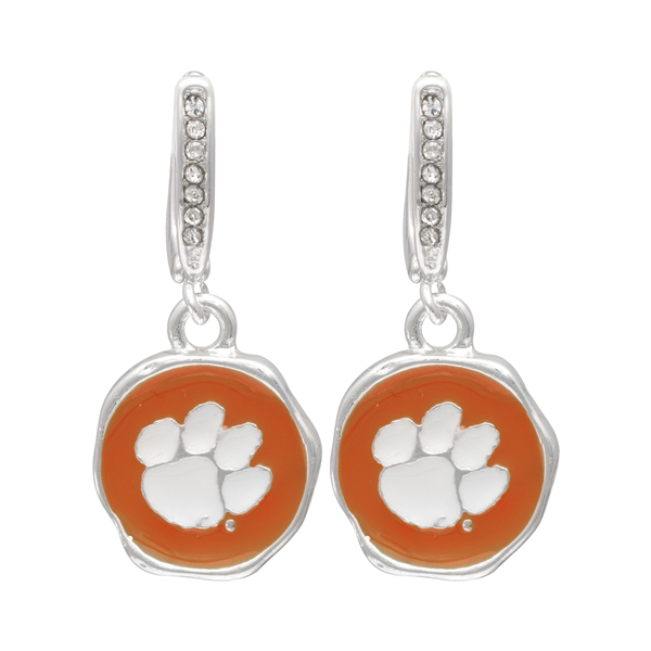 College Fashion Crystal Clemson University Logo Charm Stud Dangle Etty Earrings