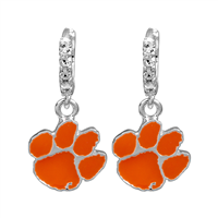 College Fashion Crystal Clemson University Logo Charm Cuff Hoop Dangle Electra Earrings