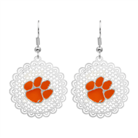 College Fashion Filigree Cut Clemson University Logo Charm Post Dangle Els Earrings