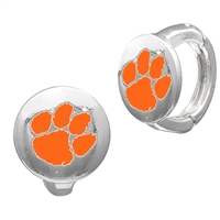 College Fashion Clemson University Logo Tack Enza Stud Cuff Hoop Earrings
