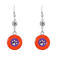 Silver Clemson Tiger Earrings