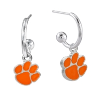Dangle Logo Earrings Silver College University Clemson Tigers South Carolina