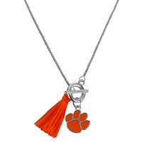 College Fashion Clemson University Logo Charm Tassel Norma Necklace Lobster Clasp