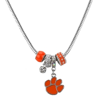 Silver Beaded Charm Necklace Clemson Tiger