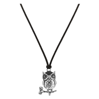 Silver Perched Owl Thin Brown Faux Leather Necklace