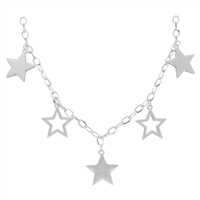 Stylish Fashionable 5 Star Charm Silver Necklace