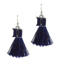 College Fashion Duke University Logo Charm Tassel Post Dangle Eambi Earrings