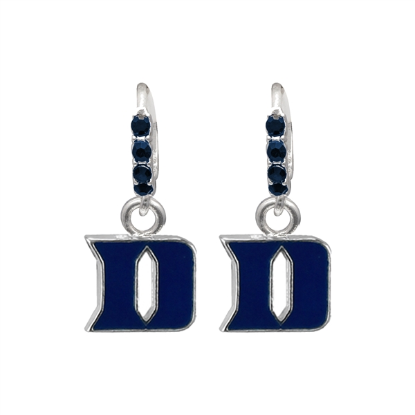 College Fashion Crystal Duke University Logo Charm Cuff Hoop Dangle Electra Earrings