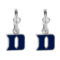 Dangle Logo Earrings Silver College Blue Devils Jewelry