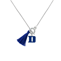 College Fashion Duke University Logo Charm Tassel Norma Necklace Lobster Clasp