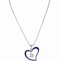 Silver Duke Logo Royal Blue & Silver Heart Necklace