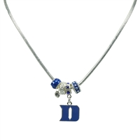 Silver Beaded Charm Necklace Duke Blue Devils