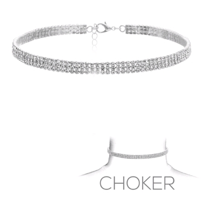 3 LINE CRYSTAL CHOKER | SILVER