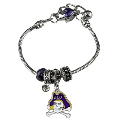 College Fashion Crystal East Carolina University Logo Charms Betsy Bracelet