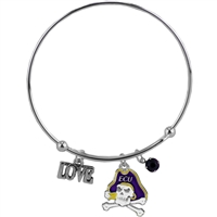 Coil Love Silver Charm Bracelet ECU Pirates Bangle Silver Jewelry