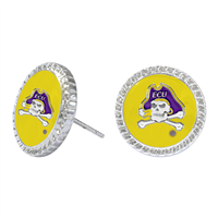 College Fashion East Carolina University Logo Charm Stud Eudi Earrings