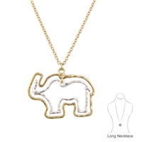 Lively Gold & Silver Thin Double Elephant Outline Charm Necklace