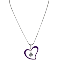 Silver East Carolina Pirate Logo Purple & Silver Heart Necklace